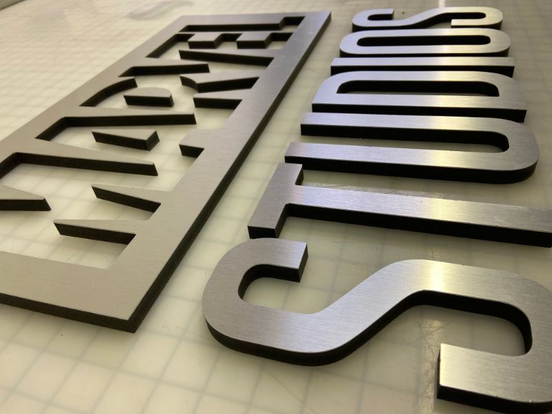 Brushed Metal Lobby Logo Signs for Offices in Orange County