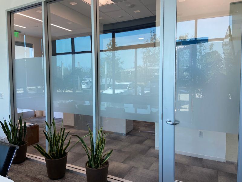 frosted and etched glass privacy film in Newport Beach.