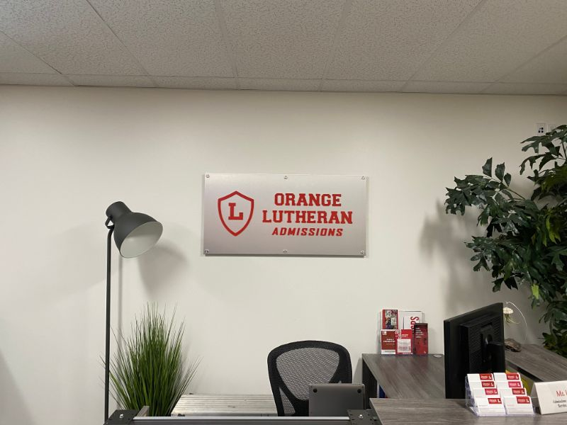 wall wrap and lobby logo in Orange