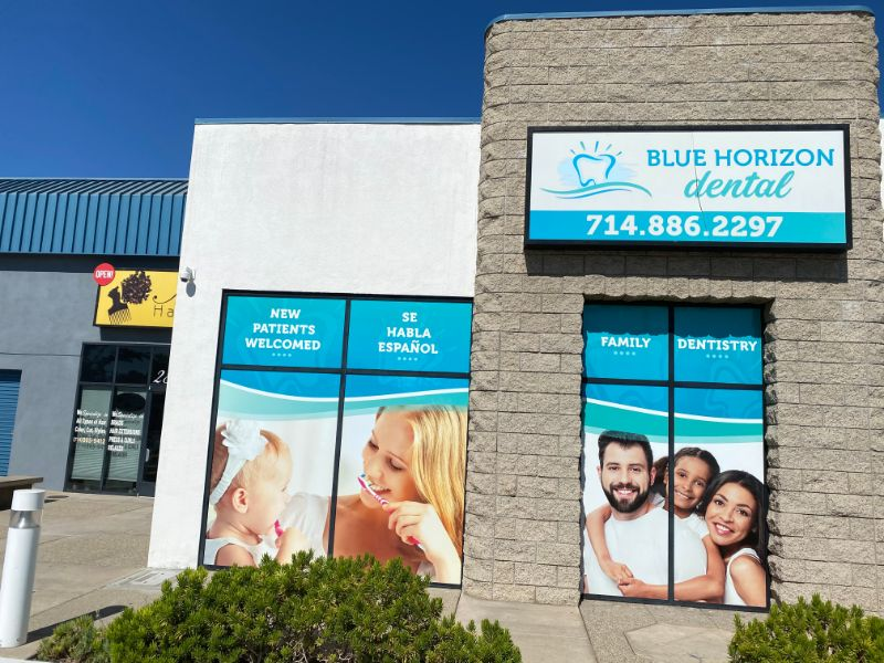 installation of window graphics and a building sign in Anaheim