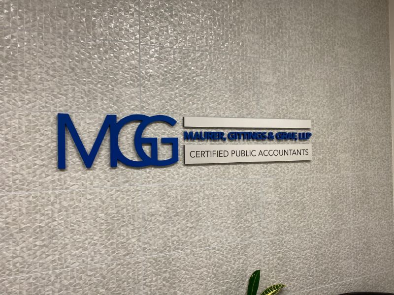 brushed metal lobby sign in Orange CA