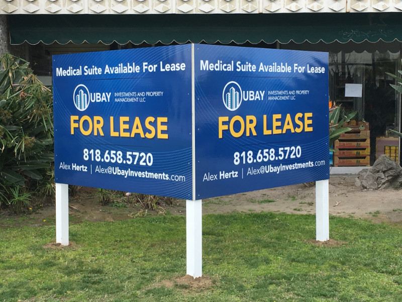 """Commercial Property """"For Lease"""" Signs in Orange County CA"""