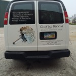 All info is on the back of the van. The bouquet is the centerpiece!